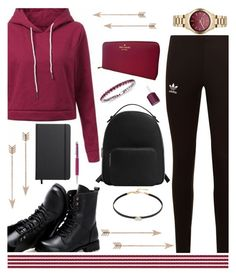 """""""Raspberry"""" by my-style-xo ❤ liked on Polyvore featuring Sunsteps, Lacey Ryan, EF Collection, Swarovski, Shinola, Kate Spade, Karl Lagerfeld, adidas Originals, MANGO and Blue Nile"""