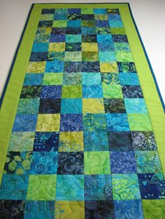 Quilted Table Runner--Blue and Green Batiks, Mosaic Patchwork by VillageQuilts on Etsy