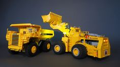 https://flic.kr/p/Ryxfhc | Marathon LeTourneau L-1200 LeTro-Loader | Diesel-electric wheel loader  The prototype featured a 22-cubic-yard bucket and was suited to load 150 to 170 ton haul trucks like the Euclid R-170.  My model in scale 1:28.5 has all the functions of the original:  - All-wheel drive with planetary gear reduction in each wheel hub using two PF XL motors - Articulated steering by means of two linear actuators powered by a PF M motor - Pneumatic lift arm with four-cylinder…