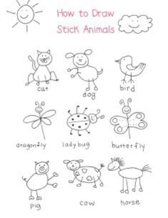 Stick figure animals