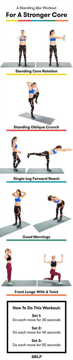 The Standing Abs Workout For A Strong, Firm Core Core Workouts, Abs Workout Routines, Lower Ab Workouts, At Home Workouts, Circuit Workouts, Fitness Routines, Core Exercises, Workout Ideas, Standing Ab Exercises