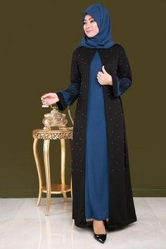 M - Hırkası İncili Takım İndigo - Motherhood & Child Photos Hijab Gown, Anarkali Dress, Abaya Designs, Kurti Designs Party Wear, Abaya Fashion, Muslim Fashion, Vestidos Para Baby Shower, African Fashion Dresses, Fashion Outfits