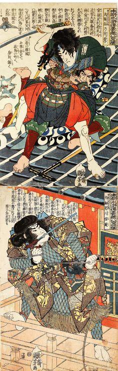 Eight Hundred Heroes of Our Country's Suikoden, One by One: Satomi Hakkenshi & Inukai Kempachi Nobumichi kakemono-e. 1830.