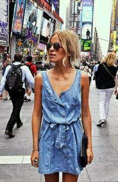 Denim dress in the city. Download the#FashEngage iPhone App in the iTunes App Store!
