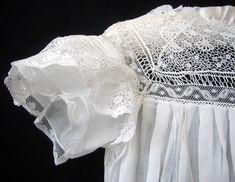 Maria Niforos - Fine Antique Lace, Linens & Textiles : Antique Christening Gowns & Children's Items # CI-61 Circa 1900, Lovely Child's Dress w/ Ribbon