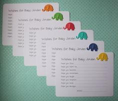 Handmade Baby Wishes Note Card Set of 10 Orange Green Red Blue Yellow 3D Elephants on Luxury White Cardstock