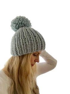 803e4e76088 Custom Made Chunky Rib Knit Mega Pom Beanie   made to order Double Scoop  Beanie    choose custom color    chunky knit hat pom
