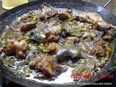 Recetario Spanglish para mis hijos: Conejo con habas y alcahuciles (Rabbit stew with fava beans and artichokes)