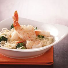 Shrimp & Broccoli with Pasta Recipe -Shrimp are thought of as a fancy, expensive item, so I enjoy serving it to guests, but I also enjoy serving it to my hubby. This recipe makes any day special, and you don't even need a candle! —Betty Anderson, Cokato, Minnesota