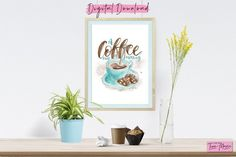 Watercolor 'A Coffee Kind Of Morning'.  By Art By Tina Marie