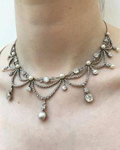 Belle Époque necklace in diamonds and pearls, circa 1905.. a delicate and refined beauty of a jewel. Up for auction on Thursday at Bonhams in London. #buyrocksnotstocks #jewelryisart #bonhamslondon