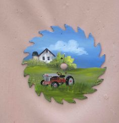 Hand Painted Saw Blade - Spring Farm Scene With A Ford Tractor, Painted In Blues & Greens,Signed by GiftArtPersonalized on Etsy
