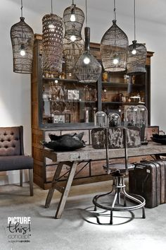 Home Decorating DIY Projects  :     Collection of basket style lighting hanging over a rustic table and dresser    -Read More –   - #DIY https://decorobject.com/diy/home-decorating-diy-projects-collection-of-basket-style-lighting-hanging-over-a-rustic-table-and-dresser/