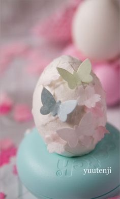 Decoupaged eggs w/butterfly embellishments