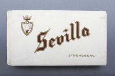Forssan museo. Strengbergin tupakkatehtaan Sevilla-merkkinen kulta-ruskea-valkoinen savukerasia. Tehdas perustettiin vuonna 1762 Pietarsaareen ja se oli 1920-luvulla Suomen ja jopa Pohjoismaiden suurin tupakkatehdas. Kulta, Nostalgia, Ads, Cigars, Branding, Sevilla