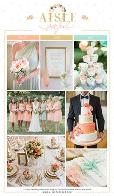 peach mint gold inspiration board by aisle perfect