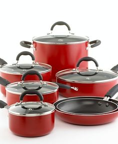 CLOSEOUT!  Martha Stewart Collection Nonstick Red Enameled 12-Piece Cookware Set  -  $69.99 at macys.com. (was 150.00)