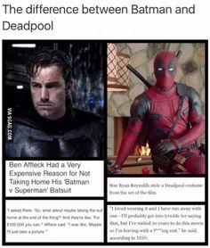 Ben Affleck vs. Ryan Reynolds. #BatmanvSuperman vs #Deadpool Big difference between the two!