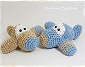 Crochet baby toy rattle ball - organic cotton - sky blue, beige and white