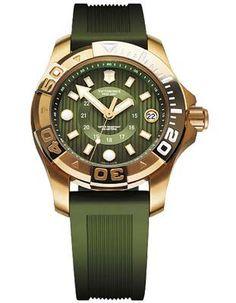 Victorinox Swiss Army Dive Master 500 Midsize - Gold-Tone - Green Dial & Strap
