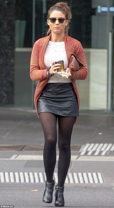 Sam Frost eats as she struts down the street ahead of the Logies A girl after our own heart! Sam Frost tucked into some cheese and crackers washed down wit. Mode Outfits, Stylish Outfits, Fall Outfits, Fashion Outfits, Outfit Winter, Fashion Ideas, Pantyhose Outfits, Black Pantyhose, Nylons