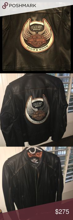 Harley Davidson anniversary edition leather jacket Women's leather jacket size 1w (fits like women's size 16-18) Worn about 3 times No rips or tears Jackets & Coats