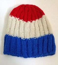 Hand Knit Red White and Blue Hat In Alternating by OliverosCoOp