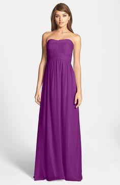 Donna Morgan 'Stephanie' Strapless Ruched Chiffon Gown (Regular & Plus Size)