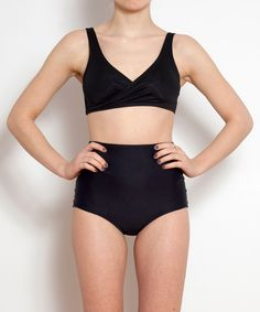 Black Crossover Two Piece by MinnowBathers on Etsy
