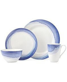 Lenox Dinnerware, Indigo Watercolor Stripe Collection, Only at Macy's - Dinnerware - Dining & Entertaining - Macy's