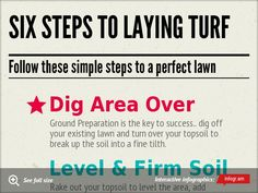 Six Steps to Laying Turf by qgsltd - Infogram How To Lay Turf, Top Soil, Back Gardens, Garden Projects, Bunny Rabbits, Yard Ideas, Cottage, Backyard, Gardening