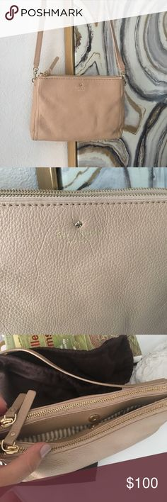 Brand New Kate Spade 3 Compartment Cross Body Great color for the summer! Nude Cross Body wth 3 compartments- 2 zipper and one magnetic closure. Never used. Brand new kate spade Bags Crossbody Bags