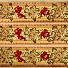 Bold Floral/Foliate Clusters in Red/Green/Buff with Gilt Accents on Embossed Paper # Rolls: long of border) Condition: Excellent, one crease. See an example of Ready-to-Hang Artwork based on this Original Wallpaper Remnant. Victorian Wallpaper, Antique Wallpaper, Original Wallpaper, Embossed Paper, Borders For Paper, Floral Border, Wallpaper Roll, Beautiful Images, Red Green