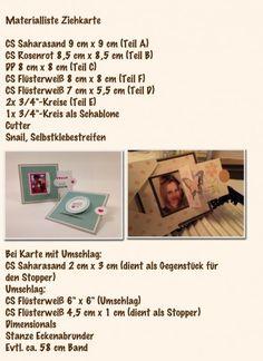 Ziehkarte Materialliste