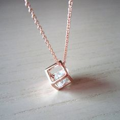 Cube Necklace in Rose gold