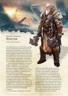 DnD Homebrew — Winter Domain Cleric by the_singular_anyone Dungeons And Dragons Cleric, Dungeons And Dragons Classes, Dungeons And Dragons Board, Dungeons And Dragons Homebrew, Twilight Princess, Dnd Characters, Fantasy Characters, Cleric Domains, Dnd Cleric