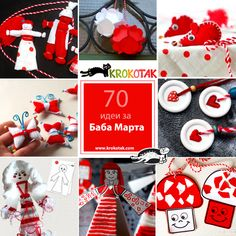 "In Bulgarian folklore (KROKOTAK is bulgarian site) the month of March is often portrayed as a plump, cheerful old lady, ""baba Marta"". The day of her reign is celebrated with red and white ornaments in various designs – as bracelets, brooches, pom-poms… Paper Doll Craft, Doll Crafts, Paper Dolls, Paper Crafts, Quick Crafts, Fun Crafts, Crafts For Kids, Christmas Yarn, Christmas Crafts"