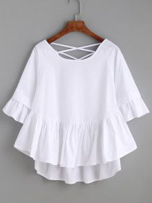 Shop White Crisscross Back Ruffle Top online. SheIn offers White Crisscross Back Ruffle Top & more to fit your fashionable needs. Girl Fashion, Fashion Dresses, Womens Fashion, Fashion Design, Outfit Trends, Mode Inspiration, Ruffle Top, White Tops, Blouse Designs
