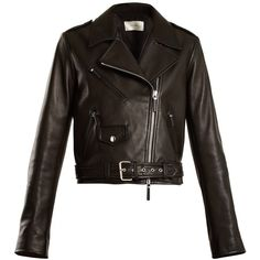 The Row Perlin leather biker jacket (17.945 RON) ❤ liked on Polyvore featuring outerwear, jackets, black, moto jackets, leather biker jackets, leather motorcycle jacket, biker style leather jacket and rider leather jacket