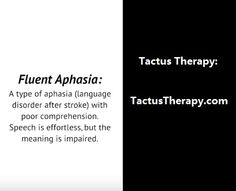 Fluent Aphasia Wernicke's Aphasia. I'm happy. Are you pretty? You look good.