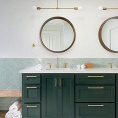 The Prospect Pendant is our minimal, industrial approach to a traditional two-light pendant shape. Features a singular, slender bar highlighting a bulb of your choice at each end - perfect for above a small dining table or desk. We love the Prospect Gold Bathroom, Bathroom Renos, Master Bathroom, Small Bathroom, Bathroom Ideas, Bathroom Green, Bathroom Updates, Guest Bathrooms, Bathroom Inspo