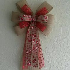 Just listed today- a #Valentines bow for your #rustic #farmhouse decor!  I sold out of my other burlap v-day bow so fast, I didn't have time to post it.  Get this one before its gone!