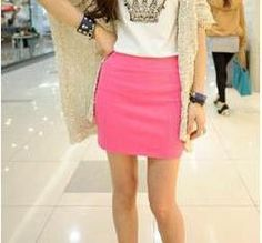 New Fashion Women Casual Empire Packet Buttock Short Skirts Sexy Lady Candy Color Solid Mini-Skirt D008