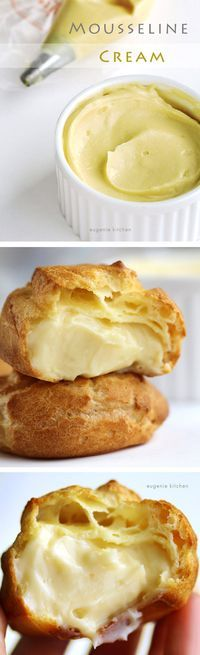 Crème mousseline, mousseline cream Pastry cream or whipped cream? Now here goes an alternative for your cute little puffs: mousseline cream. It's much more gourmet, glorified pastry cream which is used for desserts at better restaurants . Just Desserts, Delicious Desserts, Dessert Recipes, Yummy Food, French Desserts, Custard Desserts, Dinner Recipes, Breakfast Recipes, Gourmet Desserts