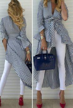 Hijab Fashion, Fashion Dresses, Assymetrical Dress, African Tops, Picnic Dress, Stripes Fashion, Pattern Fashion, Plus Size Fashion, Ready To Wear