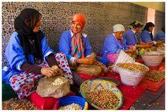Kobiety pieczołowicie rozłupują orzechy przy pomocy dwóch kamieni.