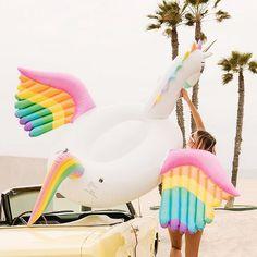 The funboy rainbow unicorn summer pool, summer fun, pool fun, summer vibes Cute Pool Floats, Flamingo Float, Pool Accessories, Pool Toys, Rainbow Unicorn, Unicorn Party, Cool Pools, Summer Pool, Summer Fun