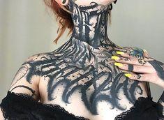 Chest tattoo by Felix Seele - Tattoo Models Chest Neck Tattoo, Full Neck Tattoos, Full Chest Tattoos, Chest Tattoos For Women, Chest Piece Tattoos, Pieces Tattoo, Stomach Tattoos, Sexy Tattoos For Girls, Sleeve Tattoos