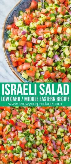 Israeli Salad is a must make Middle Eastern Recipe that is full of flavor! This … Israeli Salad is a must make Middle Eastern Recipe that is full of flavor! This salad is also known as Shirazi Salad (Persian Cucumber and Tomato Salad). Best Salad Recipes, Veggie Recipes, Dinner Recipes, Cooking Recipes, Healthy Recipes, Fast Recipes, Keto Recipes, Tomato Salad Recipes, Vegetarian Salad Recipes