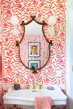 With the help of a little colour, and a lot of shiny brass, I created a powder room that packs a punch! Come see which products I nabbed from Signature Hardware Powder Room Design, Of Wallpaper, Pink Wallpaper Bathroom, Powder Room With Wallpaper, Modern Wallpaper, Wallpaper Ideas, Small Bathroom, White Bathrooms, Luxury Bathrooms